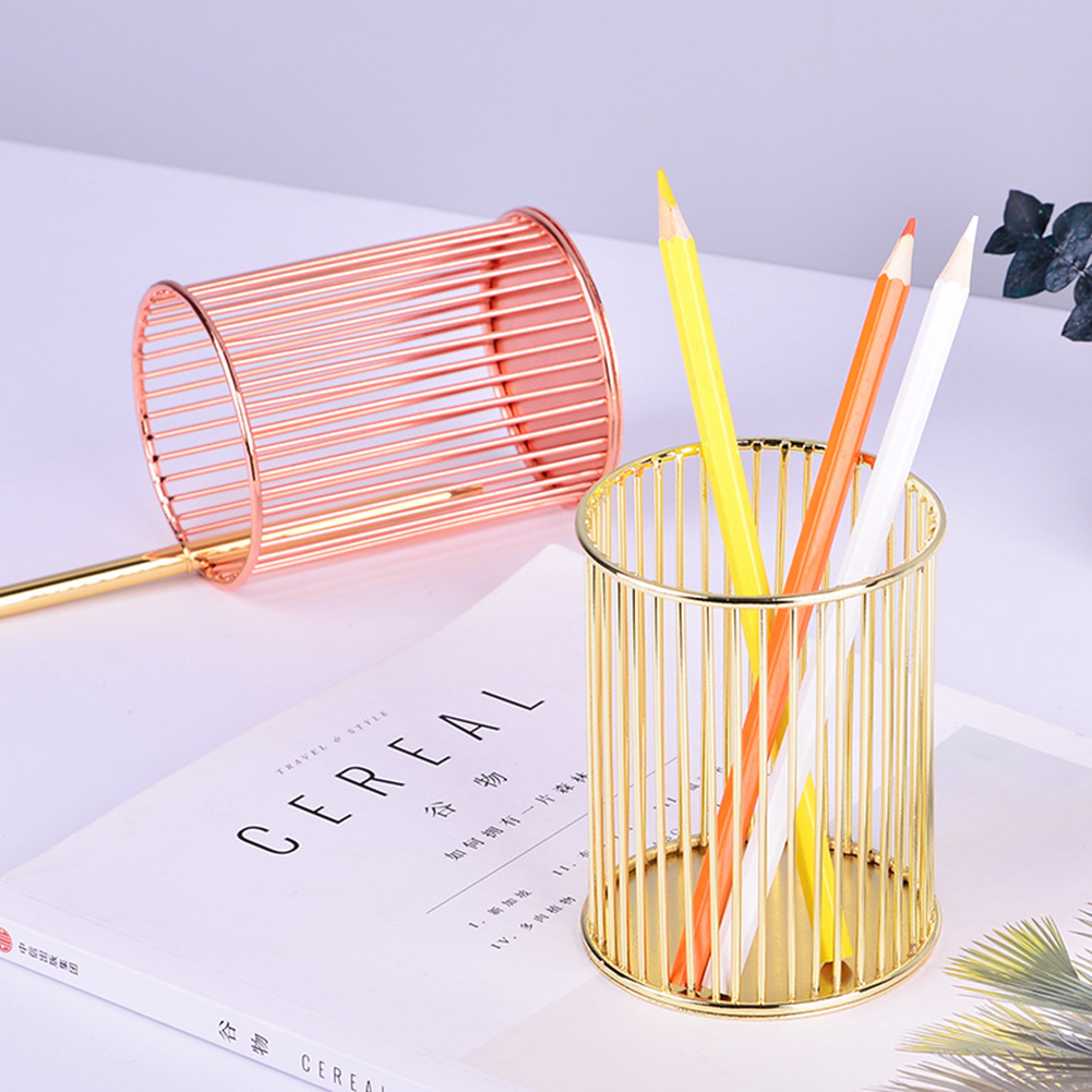 High Quality Office Organizer Iron Wire Pencil Pen Holders Stationery Container School Desk Storage Supplies Cosmetic Holders
