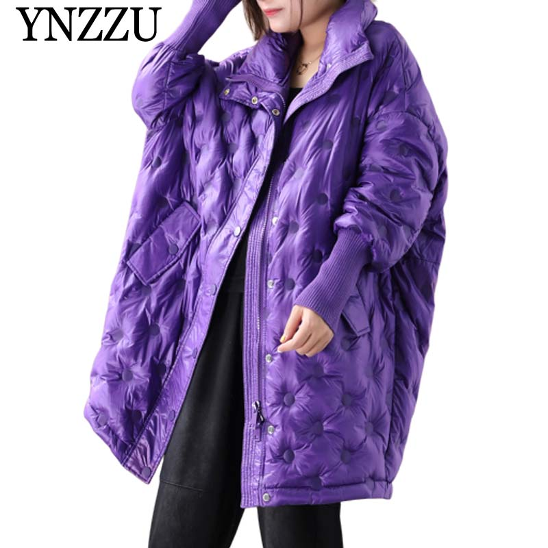 2019 Winter Purple Oversize Women Down Jacket Single Breasted Oversize Long Female Down Coat Loose Casual Overcoat YNZZU YO952