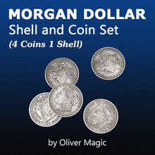цена Morgan Dollar Shell and Coin Set (4 Coins 1 Shell)  Magic Tricks Stage Close Up Magia Coin Appearing Magie Illusion Gimmick Prop онлайн в 2017 году