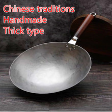 Iron Pot Wok Wooden-Handle Gas-Cooker Non-Stick Chinese-Style No-Coating 36cm Hand-Forging