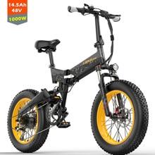 X3000plus bici da neve elettrica pieghevole da 20 pollici, bicicletta per pneumatici grassi, doppia sospensione anteriore e posteriore da 500W / 1000W