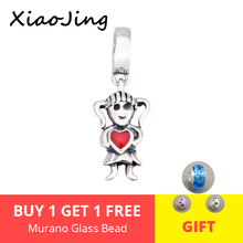New arrival 925 Sterling Silver cute little girl Charms Beads Fit authentic pandora Bracelets pendant diy jewelry making Gifts цена