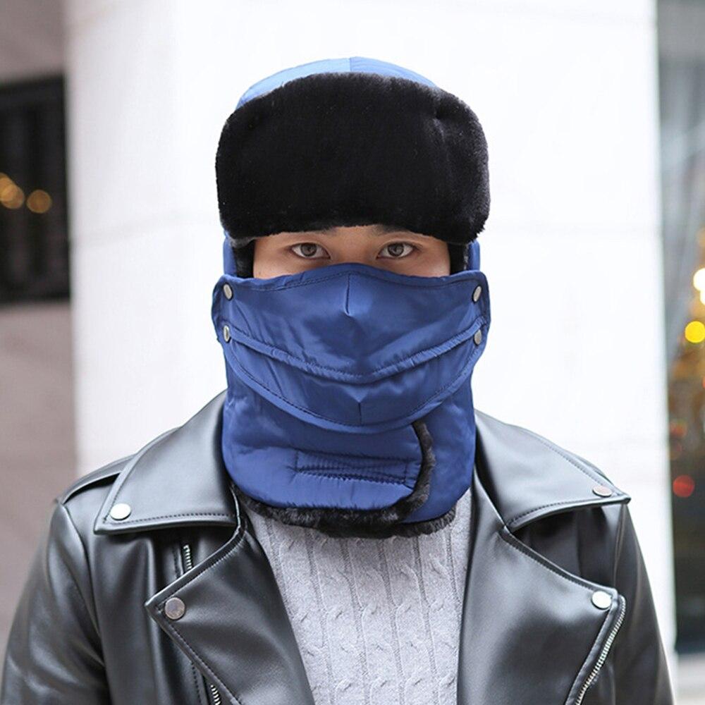 Winter Hat Trapper-Hat Trooper Earmuffs Mask Snow Women Unisex with Scarf Anti-Haze Ski