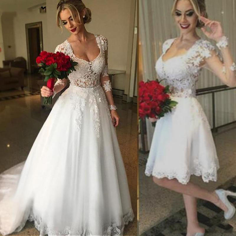 2 In 1 Long Sleeve Wedding Dress With Detachable Skirt High Quality Lace Appliques Bride Dress Vestido De Noiva Princesa