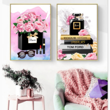 Nordic Posters And Prints Paris Perfume Rose Fashion Luxury Lipstick Wall Art Canvas Painting Pictures For Living Room