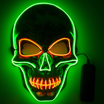 Multicolor LED Mask EL Mask Halloween Skull Scary Mask LED Mask Mask For Glowing Halloween Cosplay Festival Party Costume Props scary halloween adult cave demon mask the faun skull skeleton mask