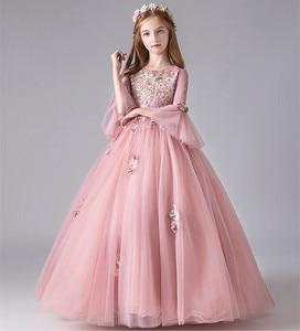 Кружевное платье с аппликацией из бусин для девочек, платье для свадебной вечеринки с расклешенными рукавами, длинное Тюлевое платье принц...