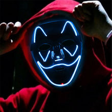 Halloween Scary Mask 3-modes Cosplay Wire Led Light Up Costume Luminous Masks Light Glow In The Dark Masks Cosplay Accessories#3(China)