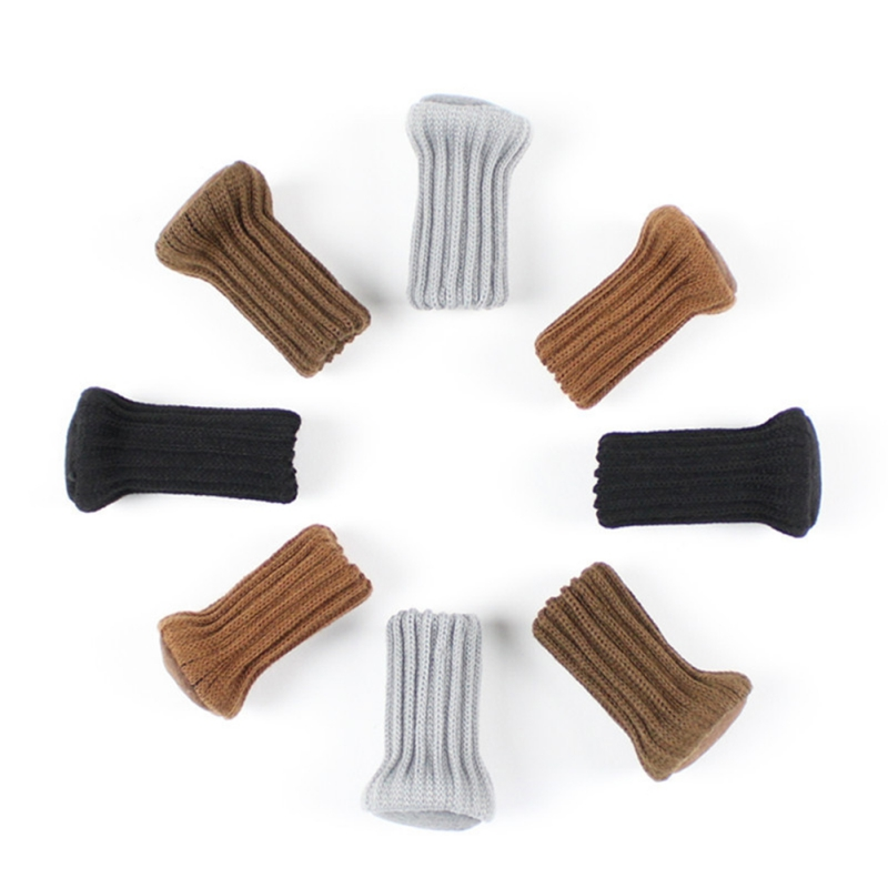 24PCS Knitted Chair Leg Socks Furniture Anti-Slip Floor Protective Cover Solid Color Chair Feet Covers Home Decor D