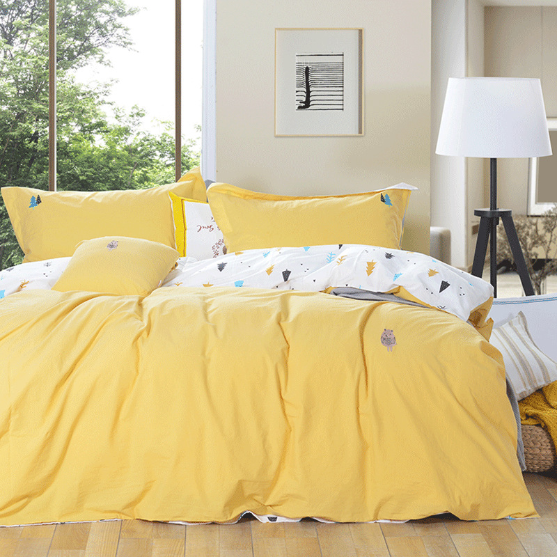 DOHIA Simple Japanese Style Cotton Washed Cotton Four-piece Set Solid Color Striped Plaid Bedding Article Group Buying Wholesale