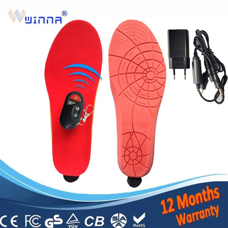 เครื่องทำความร้อน insoles แบตเตอรี่ฤดูหนาวพื้นรองเท้าหนา plush Powered ไร้สายรีโมทคอนโทรลสีดำหน่วยความจำโฟมรองเท้าอุปกรณ์เสริม-ใน แผ่นรองรองเท้า จาก รองเท้า บน   1