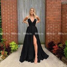 V-neck Black Sparkle Prom Dresses 2020 Side Slit Evening