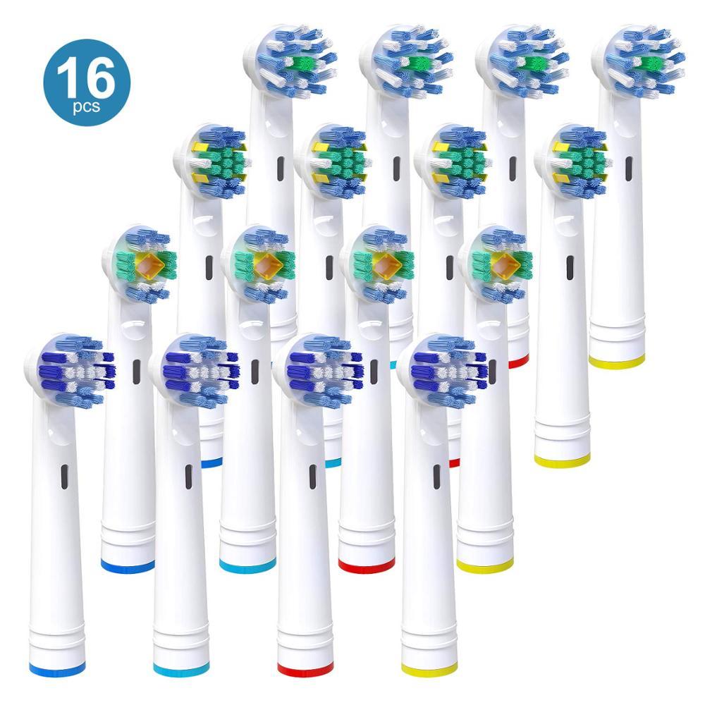 16X para Braun Oral B Vitality reemplazo de cabezales eléctricos de cepillo de dientes, limpieza de precisión, hilo dental de acción, Cruz y 4 3D blanco