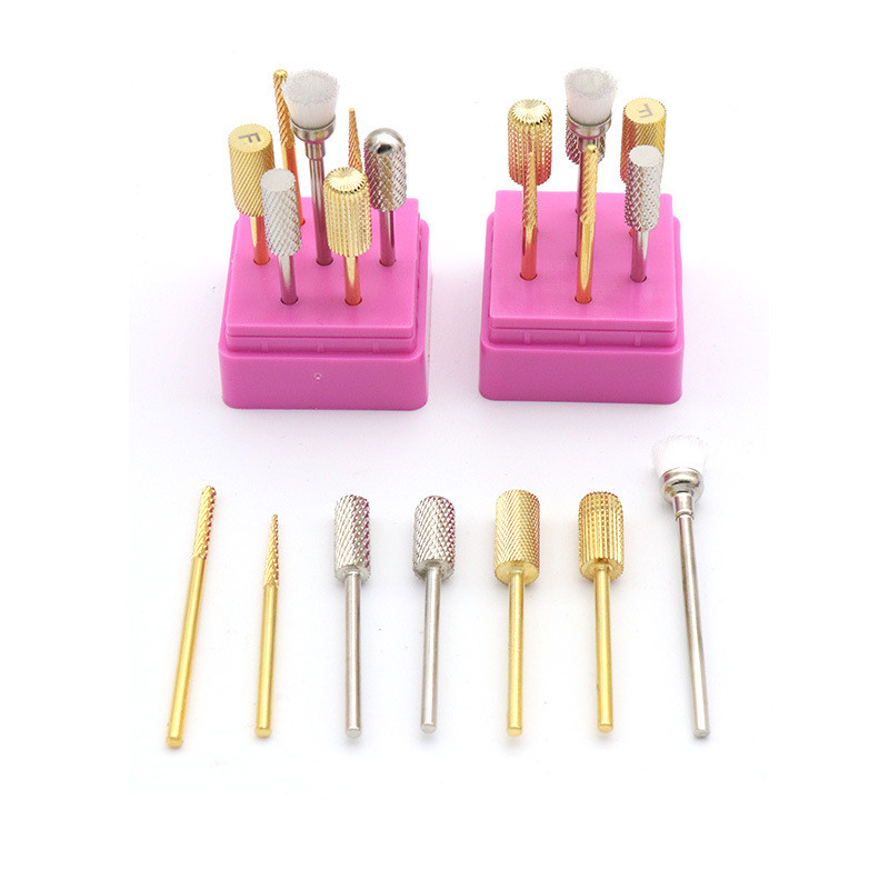 2.35mm Shank Tungsten Steel Nail Nursing Tool Set Electric Grinding Head Set Rotary Tool For Manicure Pedicure Tool 7pcs