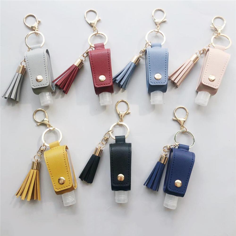 30ML Hand Sanitizer Leather Keychain Holder Travel Bottle Refillable Container Flip Reusable Bottle With Tassel Keychain Carrier