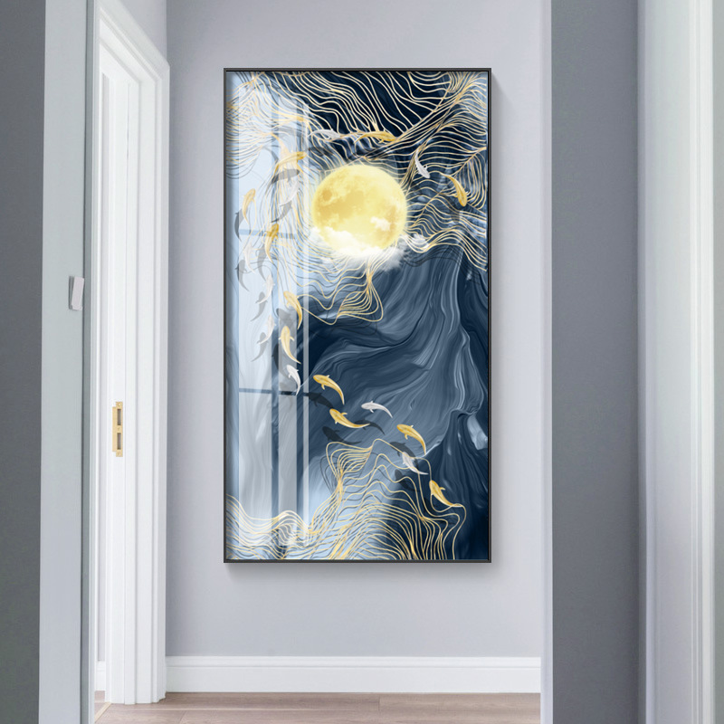 Golden Fish Bird moon sun Wall Art Canvas Abstract Painting Modern Home Decor Posters and Prints Decoration Picture Living Room