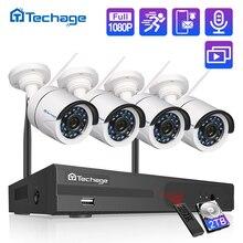 Techage 4CH 1080P 무선 NVR CCTV 시스템 오디오 기록 2MP 방수 야외 와이파이 CCTV 카메라 시스템 비디오 감시 키트