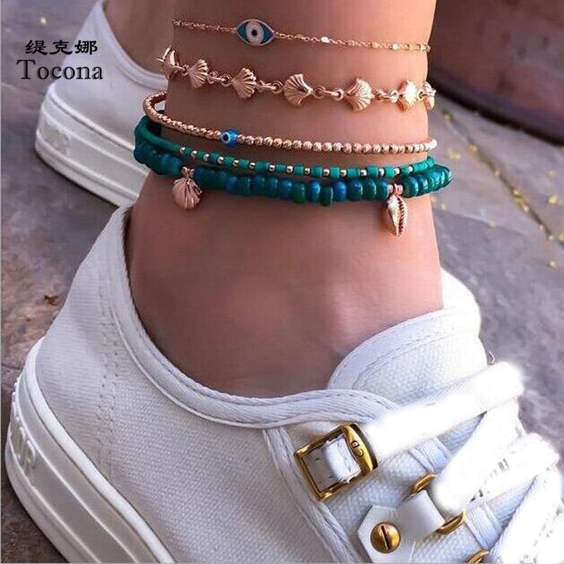 Tocona 5pcs/sets Bohemian Shell Eyes Beads Anklets for Women Multi Layer Anklet Leg Bracelet Handmade Bohemian Jewelry 8841