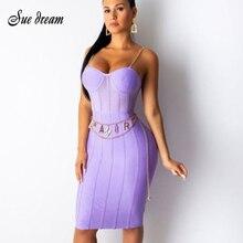 ネックスパゲッティチェーンストラップエレガントなボディコンクラブパーティー包帯ドレス卸売 V vestidos 夏新女性の紫黒オレンジ