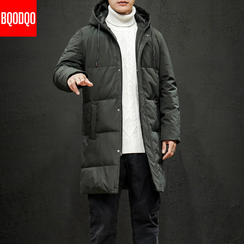 Casual Winter Down Jacket Men Warm -15 Degree Thick Military Hooded Jackets Mens Japan Hip Hop Fit  >300g  White Duck Down Coat
