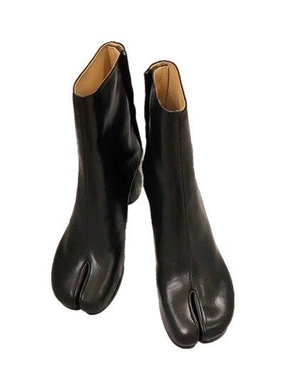 2019 marque Design Tabi bottes bout fendu gros talon haut femmes bottes Zapatos Mujer mode automne femmes chaussures Botas Mujer