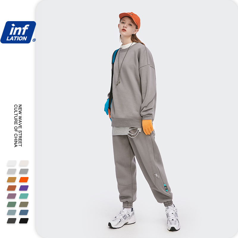 INFLATION Winter Mens Hip Hop Multi-colour Hoodies Velvet Fabrics Fleece Sweatshirts 8 Solid Color Winter Men Sweatshirts 166W17 21