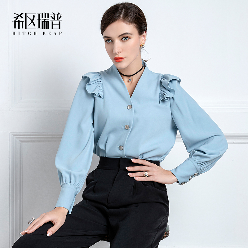 High End Shirt Women'S Sense Of Design Niche Early Autumn New French V-Neck Retro Slim Flying Sleeve Top