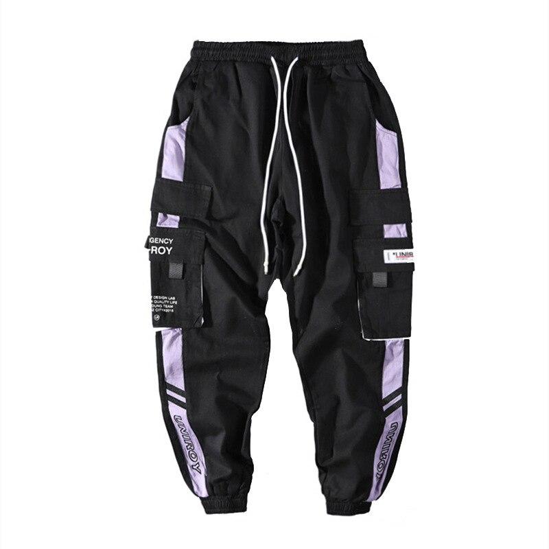 Брюки-карго с лентами в стиле хип-хоп, мужские брюки-джоггеры, Мужская Уличная одежда, военные брюки 2020, модные мужские хлопковые черные штан...
