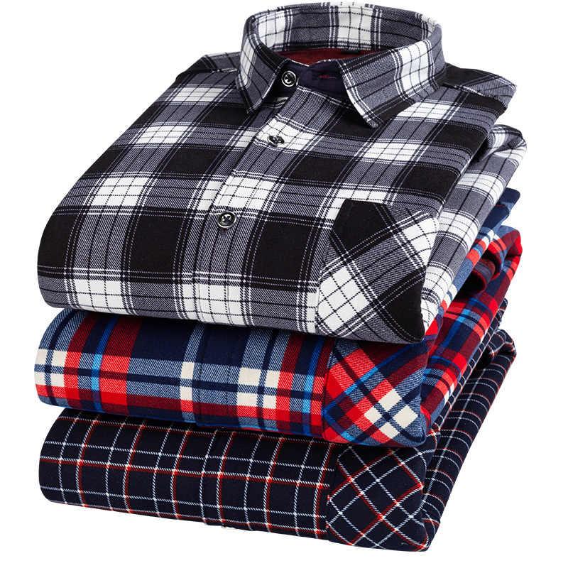 2019 가을/겨울 신사복 웜 플란넬 셔츠 긴팔 남성 체크 무늬 플러시 짙은 셔츠 캐주얼 슬림 피트 Camisa Felpa
