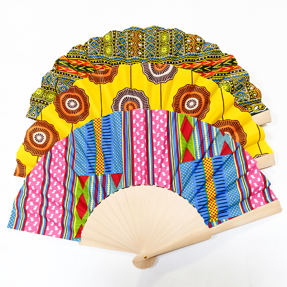 African Fans Handmade Retro Print Ankara Fans Traditional Kente Printing Hand Fan African Ethnic Fan Can Customizable