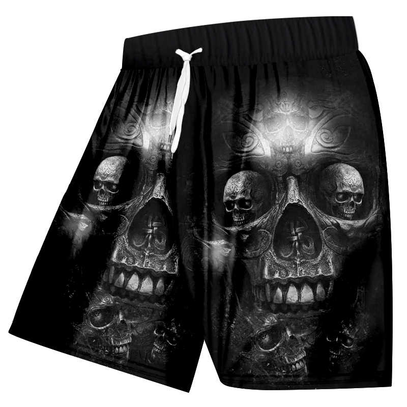 UJWI mannen Print Terreur Schedel Casual Shorts Zomer Board shorts Man Bodybuilding Fitness Knie Boxers Broek Big Size 5XL