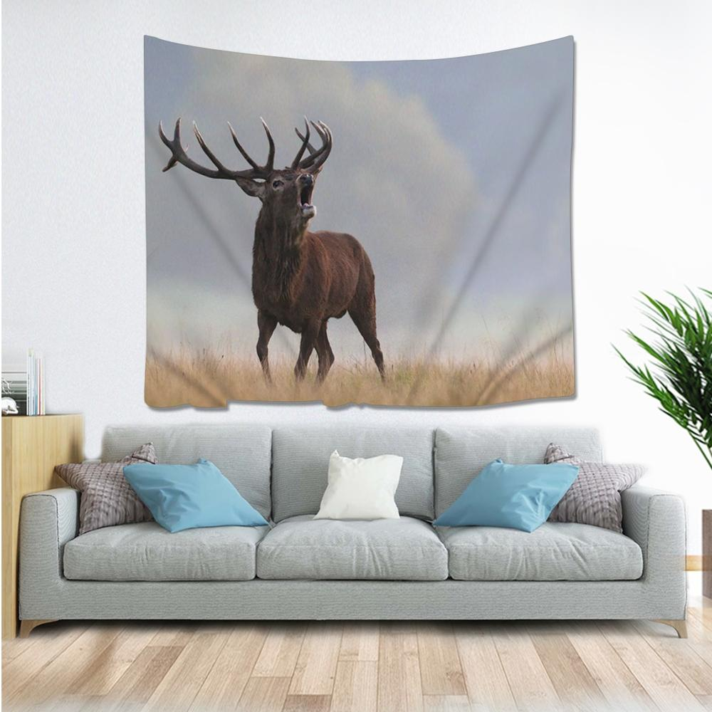Natural Animal Deer Flamingo Tapestry Hippie Mandala Wall Hanging Bedroom Polyester Travel Camping Psychedelic Tablecloth