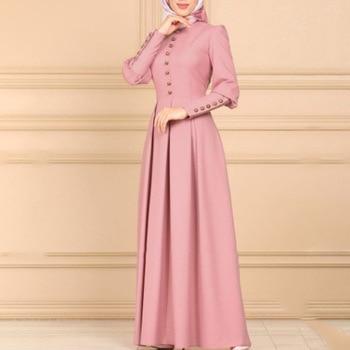 Abaya crew neck long sleeve conservative dress Muslim Kaftan fashion women's Turkish national dress puch maxi Ramadan Dubai robe puch card