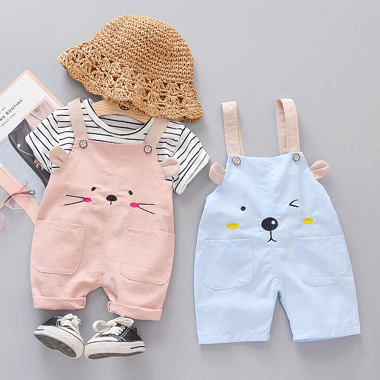 New Fashion Baby Girl Clothes Summer Striped Short-sleeved Overalls 2-piece Set Cartoon Cute Cat Printed Cotton Baby Suit