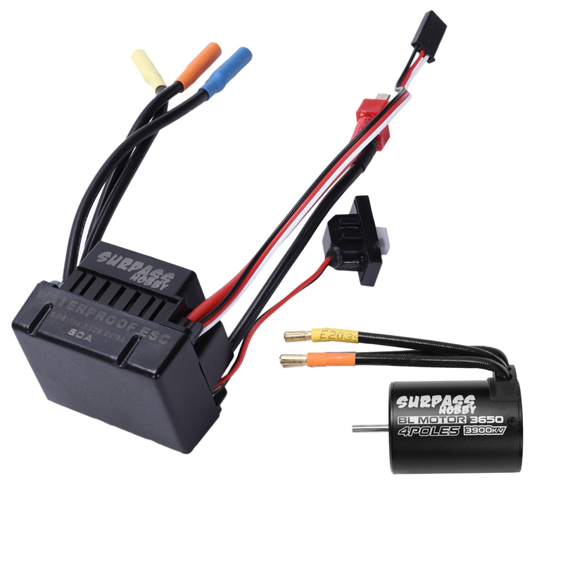 SURPASSHOBBY 3650 3900KV/4P Brushless Motor with Heat Sink 60A Brushless ESC Combo Set for 1/10 RC Cars Parts Accessories