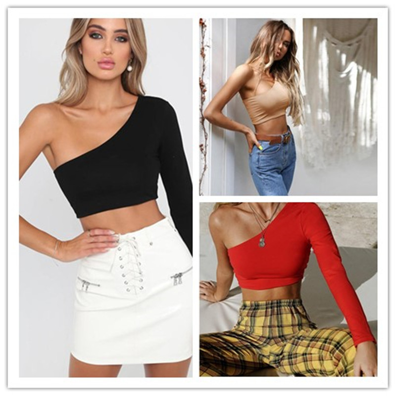 Sexy One Off Shoulder T-Shirt Women Bodycon Slim Sleeveless T Shirt autumn 2019Solid Fashion Women shirt Long Sleeve Bustier Top image