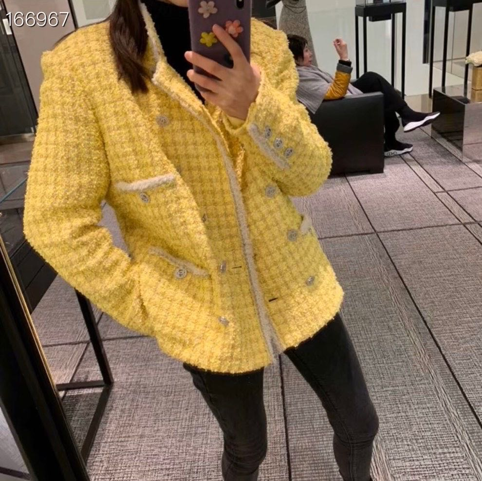 2020 Runway Fashion Retro Yellow Tweed Jacket Women Double Breasted Pockets Diamonds Buttons Hot Sale Jacket Cotton Vintage Coat