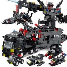 inglys Police Robot Mini Figures Bricks Set 8IN3 SWAT City Police Station Building Blocks Children Car Truck For Boys Gifts