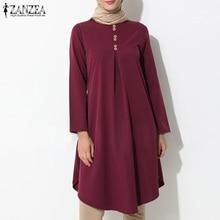 Women's Asymmetrical Blouse ZANZEA 2021 Vintage Muslim Long Shirt Casual Long Sleeve Blusas Female Button Tops Plus Size Tunic
