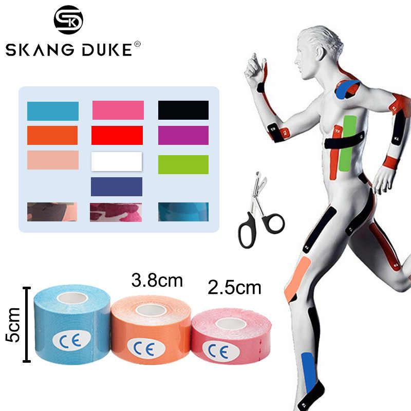 1pc5M cinta de kinesiología vendaje muscular rollo de algodón elástico cinta de rodilla Kinesiología impermeable cuidado del dolor correr Fitness adhesivo para gimnasio