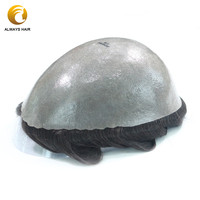 Durable Skin Base Indian Human Hair System Man Thickness 0.12 0.14mm PU Toupees Wig for Men Free Shipped By Fedex