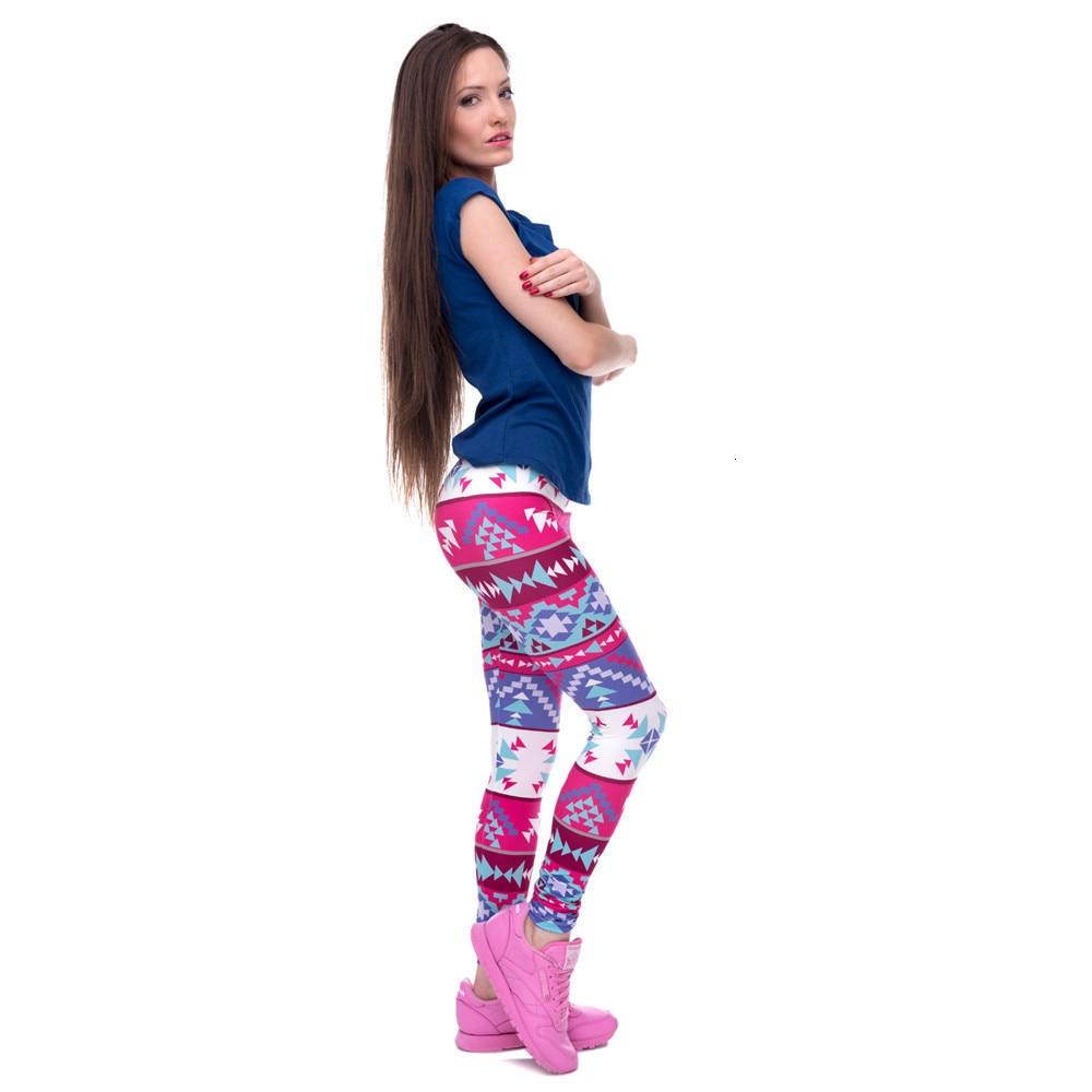 Brands Women Fashion Legging Aztec Round Ombre Printing leggins Slim High Waist  Leggings Woman Pants 62