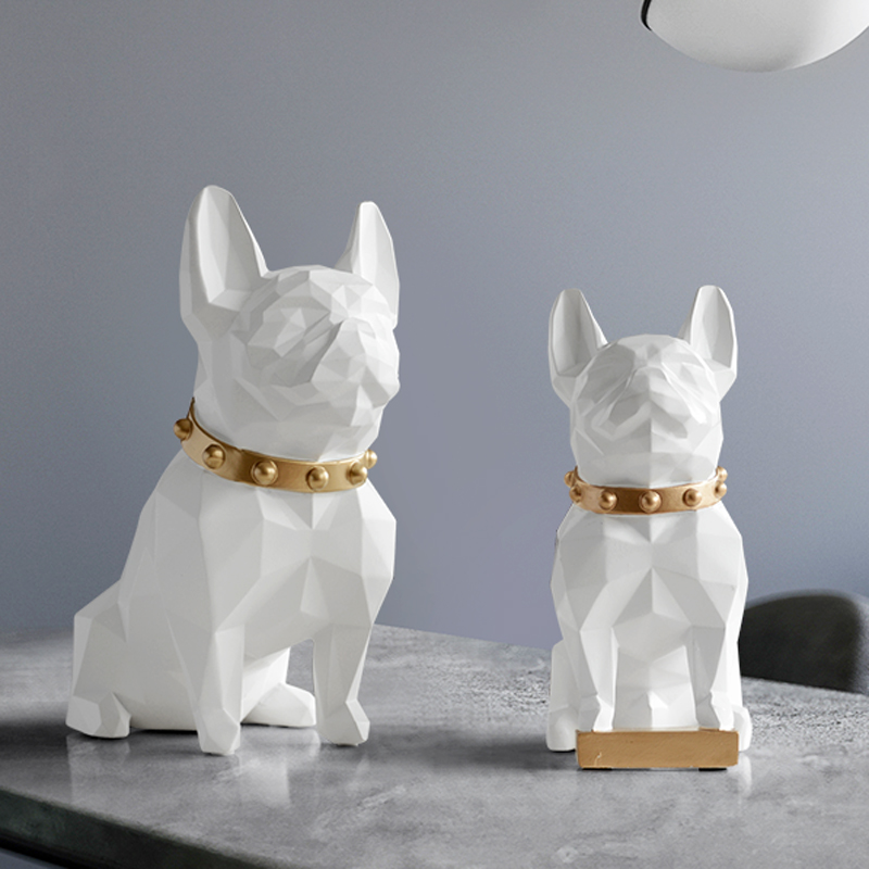 Nordic Bulldog Art Sculpture Dog Statue Resin Crafts Home Decoration Objects Ornament Animal Figurine Decor Wedding Gift WR12