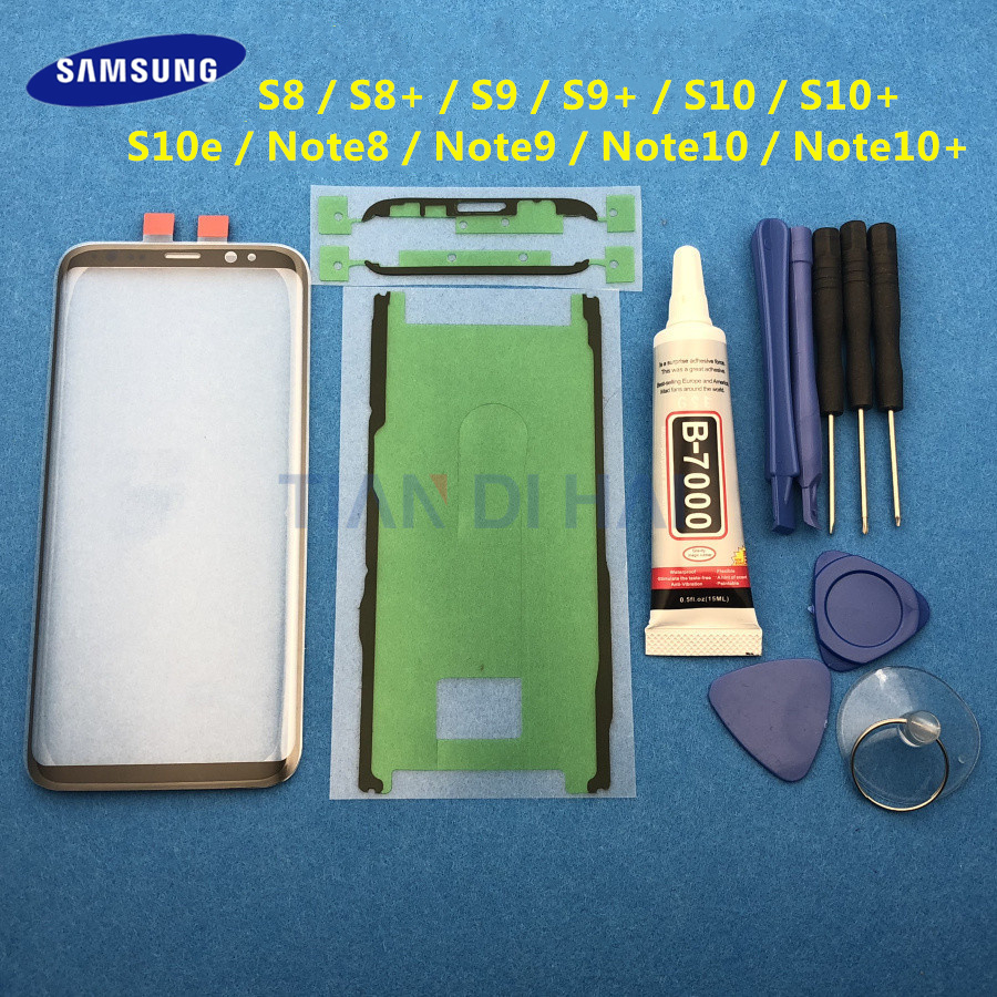 Front Outer Glass Lens Cover replacement For Samsung Galaxy S8 S9 S10 Plus Note 8 9 10 Plus S10e LCD glass & B-7000 Glue Tools(China)