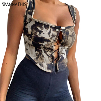 WannaThis Sleeveless Tank Tops Women Camisole Casual Backless Crop Top Sexy Slim Summer Hollow out Bandage Tops Streetwear 2020 newasia floral corset top 2 layers hollow out tie up backless tank top print cami casual streetwear sexy tops for women clubwear