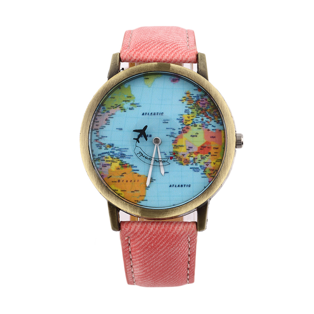 Women Men Unisex Fashion Vintage Casual World Map watch By Airplane belt Dial Analog Quartz Wrist Watch image
