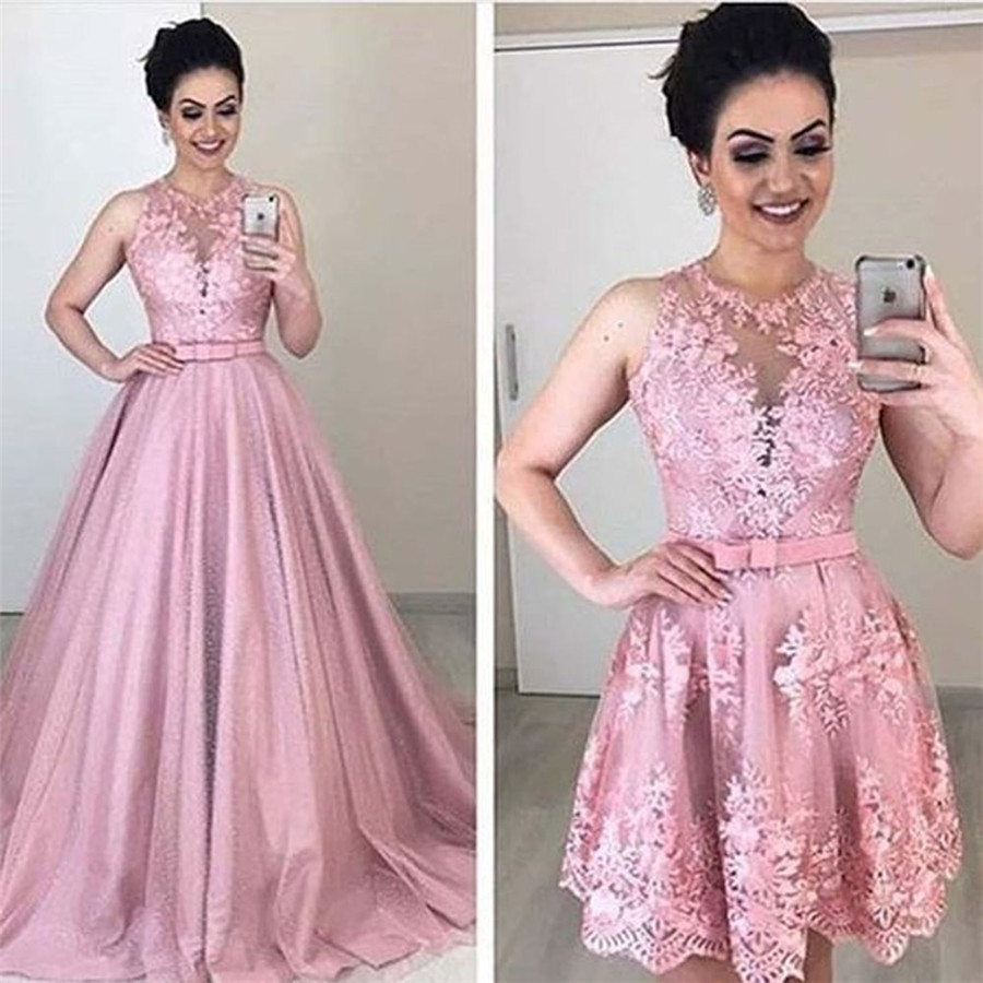 O-Neck A-Line Wedding Dresses With Detachable Train Lace Appliques Bridal Gowns Two Piece Custom Made Spring Robe De Mariee