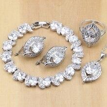 טבעי 925 סטרלינג כסף כלה תכשיטים לבן זירקון נשים חתונה עגילי תליון שרשרת טבעות צמיד