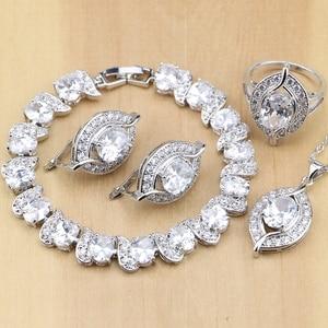Image 1 - Natürliche 925 Sterling Silber Braut Schmuck Weiß Zirkon Schmuck Sets Für Frauen Hochzeit Ohrringe Anhänger Halskette Ringe Armband