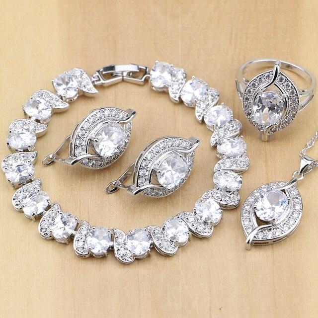 Natürliche 925 Sterling Silber Braut Schmuck Weiß Zirkon Schmuck Sets Für Frauen Hochzeit Ohrringe Anhänger Halskette Ringe Armband
